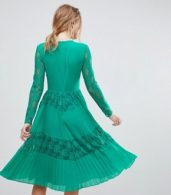 photo Pleated Lace Insert Midi Dress by ASOS, color Emerald Green - Image 2