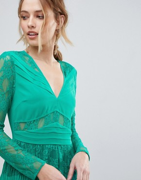 photo Pleated Lace Insert Midi Dress by ASOS, color Emerald Green - Image 3