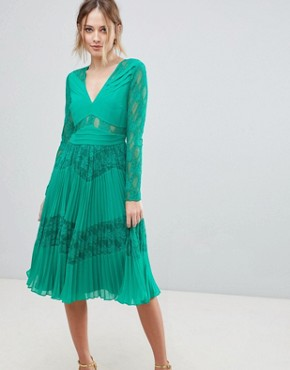 photo Pleated Lace Insert Midi Dress by ASOS, color Emerald Green - Image 4