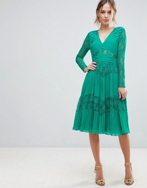 photo Pleated Lace Insert Midi Dress by ASOS, color Emerald Green - Image 1