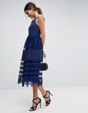 photo Broderie Lace Midi Dress by ASOS PREMIUM, color Navy - Image 1