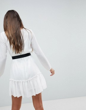 photo Long Sleeve Pep Hem Mini Dress with Belt by ASOS, color Ivory - Image 2
