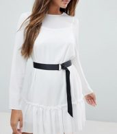photo Long Sleeve Pep Hem Mini Dress with Belt by ASOS, color Ivory - Image 3