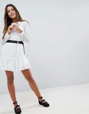 photo Long Sleeve Pep Hem Mini Dress with Belt by ASOS, color Ivory - Image 4