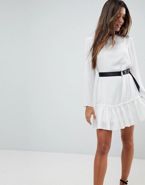 photo Long Sleeve Pep Hem Mini Dress with Belt by ASOS, color Ivory - Image 1
