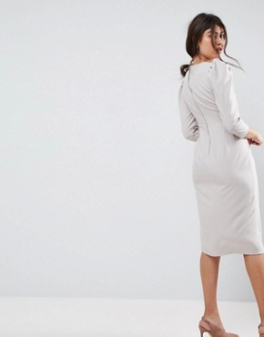 photo Wrap Front Midi Dress by ASOS, color Silver/Grey - Image 2