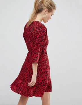 photo Animal Print Mini Wrap Dress by ASOS, color Multi - Image 2