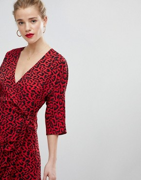 photo Animal Print Mini Wrap Dress by ASOS, color Multi - Image 3