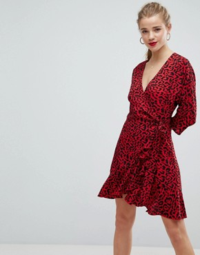 photo Animal Print Mini Wrap Dress by ASOS, color Multi - Image 1