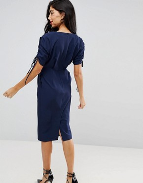 photo Split Sleeve Midi Pencil Dress by ASOS, color Navy - Image 2