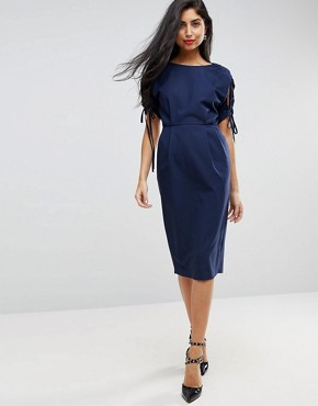 photo Split Sleeve Midi Pencil Dress by ASOS, color Navy - Image 1