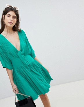 photo Casual Mini Tea Dress in Crinkle with Bow by ASOS, color Green - Image 1