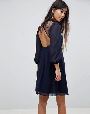 photo High Neck Skater Dress with Lace Detail by Elise Ryan Petite, color Navy - Image 2