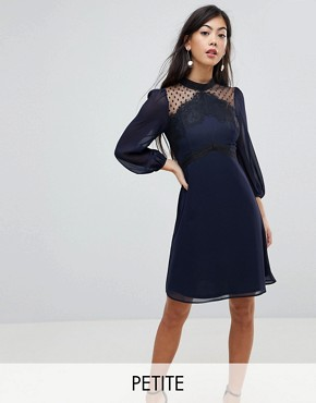 photo High Neck Skater Dress with Lace Detail by Elise Ryan Petite, color Navy - Image 1
