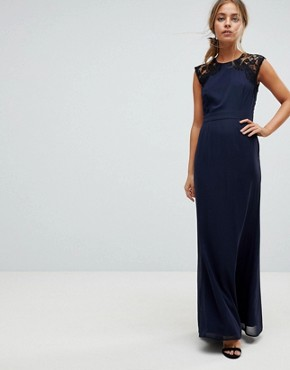 photo Maxi Dress with Cut Out Lace Back by Elise Ryan Petite, color Navy - Image 2