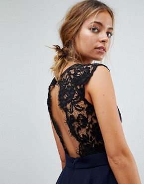 photo Maxi Dress with Cut Out Lace Back by Elise Ryan Petite, color Navy - Image 3