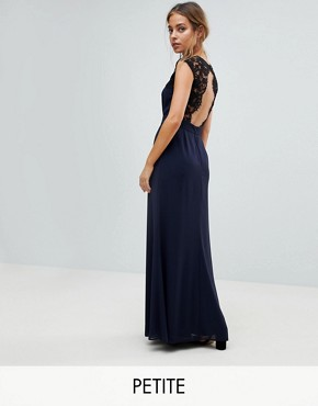 photo Maxi Dress with Cut Out Lace Back by Elise Ryan Petite, color Navy - Image 1