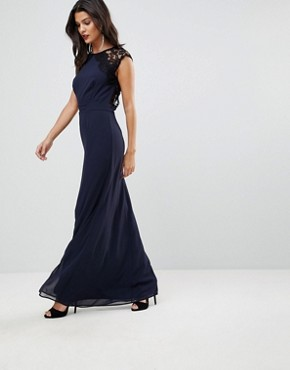photo High Neck Maxi Dress with Cut Out Lace Back by Elise Ryan, color Navy - Image 2