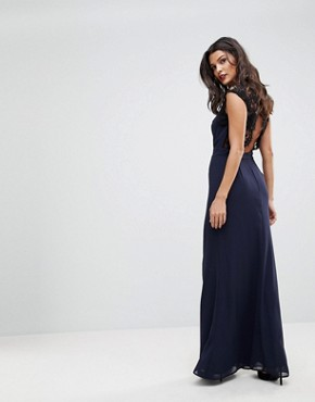 photo High Neck Maxi Dress with Cut Out Lace Back by Elise Ryan, color Navy - Image 1