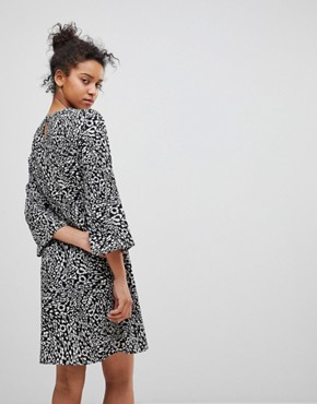 photo Animal Print Shift Dress by Moss Copenhagen, color Black/Taw Print - Image 2