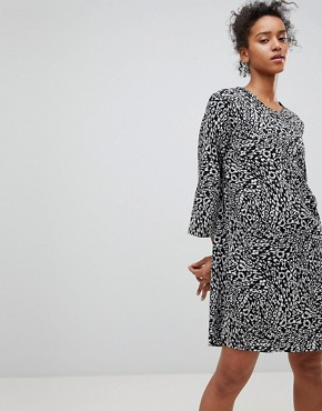 photo Animal Print Shift Dress by Moss Copenhagen, color Black/Taw Print - Image 1