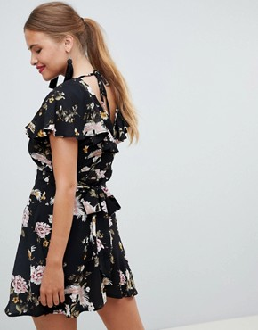 photo Floral Ruffle Tea Dress by New Look, color Black Pattern - Image 2