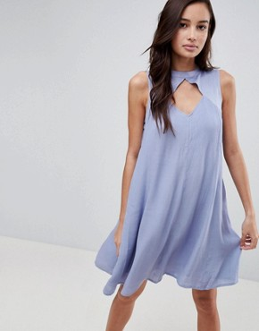 photo Amor Cut Out Turtlenck Swing Dress by Bellfield, color Blue - Image 1