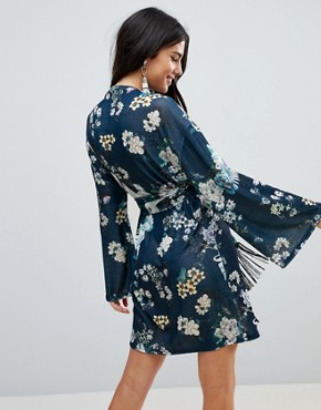 photo Kimono Sleeve Bird Print Mini Dress with Self Fringe Belt by ASOS, color Bird Print - Image 2