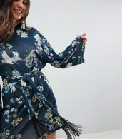 photo Kimono Sleeve Bird Print Mini Dress with Self Fringe Belt by ASOS, color Bird Print - Image 3