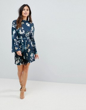 photo Kimono Sleeve Bird Print Mini Dress with Self Fringe Belt by ASOS, color Bird Print - Image 4