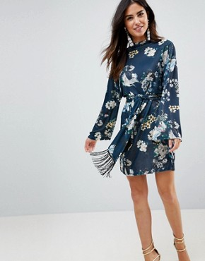 photo Kimono Sleeve Bird Print Mini Dress with Self Fringe Belt by ASOS, color Bird Print - Image 1