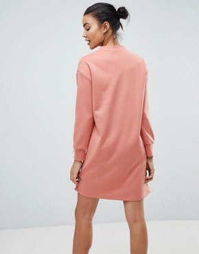 photo Scuba Mini Sweat Dress with Chain Detail by ASOS, color Dusky Pink - Image 2