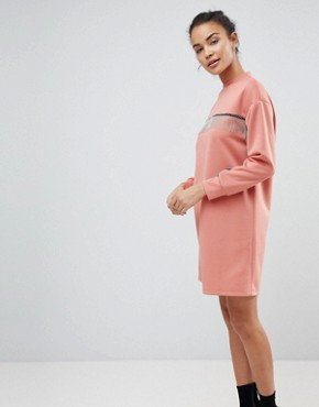 photo Scuba Mini Sweat Dress with Chain Detail by ASOS, color Dusky Pink - Image 1