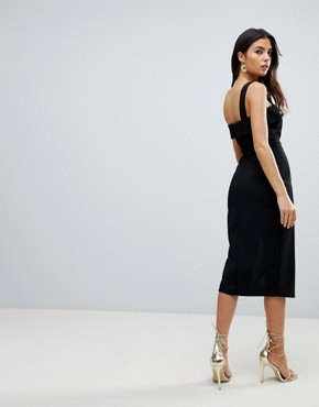 photo Midi Dress with Button Details by ASOS, color Black - Image 3