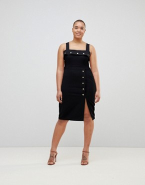 photo Midi Dress with Button Details by ASOS, color Black - Image 4