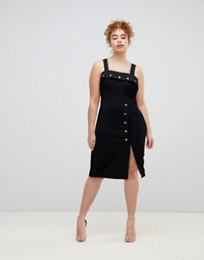 photo Midi Dress with Button Details by ASOS, color Black - Image 1