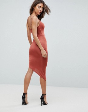 photo Slinky Bodycon Midi Dress with Asymmetric Hem by ASOS, color Rust - Image 2