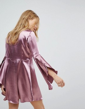photo Long Sleeve Tea Dress with Button Front and Neck Tie in Premium Satin by Honey Punch, color Plum Satin - Image 2
