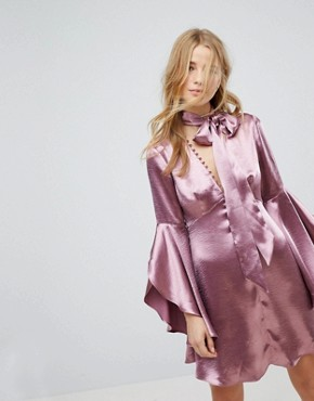 photo Long Sleeve Tea Dress with Button Front and Neck Tie in Premium Satin by Honey Punch, color Plum Satin - Image 1