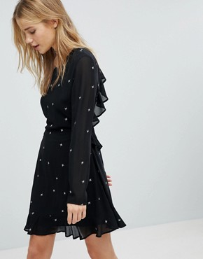 photo Long Sleeve Tea Dress with Ruffle Trim in Star Print by Honey Punch, color Black Stars - Image 2
