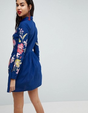 photo Embroidered Button Through Shirt Skater Dress by ASOS PREMIUM, color Blue - Image 2
