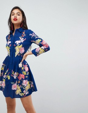 photo Embroidered Button Through Shirt Skater Dress by ASOS PREMIUM, color Blue - Image 1