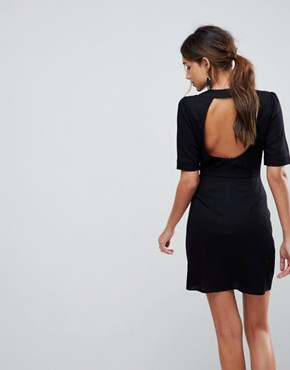 photo Embroidered Mini Dress with Open Back by ASOS PREMIUM, color Black - Image 2
