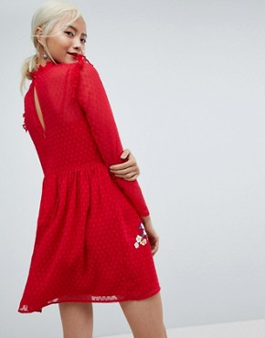 photo Pretty Embroidered Mini Dress on Dobby by ASOS, color Red - Image 2