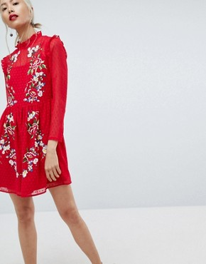 photo Pretty Embroidered Mini Dress on Dobby by ASOS, color Red - Image 1