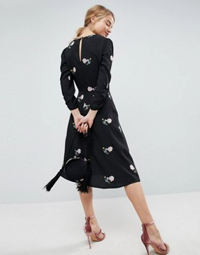 photo Floral Embroidered Midi Tea Dress by ASOS, color Black - Image 2
