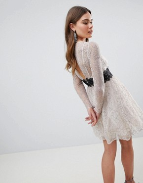 photo Contrast Lace Skater Mini Dress with Long Sleeves by ASOS, color Mono - Image 2