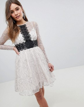 photo Contrast Lace Skater Mini Dress with Long Sleeves by ASOS, color Mono - Image 1