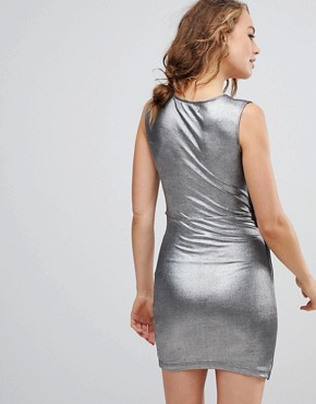 photo Reflection Asymmetric Dress by Religion, color Gun Metal - Image 2