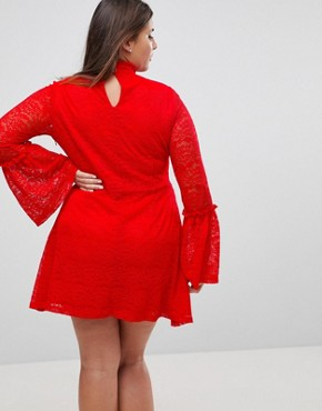 photo Long Sleeve Lace Skater Dress by Rage Plus, color Bight Red - Image 2